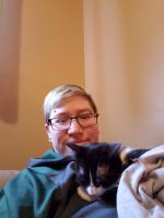 Bishop appreciates having a warm human to snuggle with.